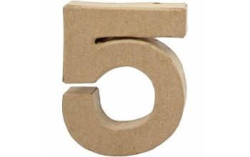 """Tūrinis kartoninis skaičius dekoravimui """"5"""", 10cm"""