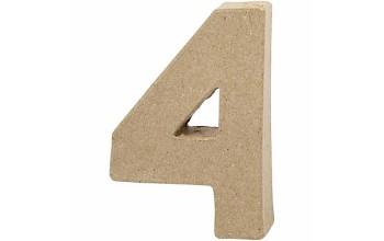 """Tūrinis kartoninis skaičius dekoravimui """"4"""", 10cm"""