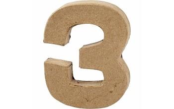 """Tūrinis kartoninis skaičius dekoravimui """"3"""", 10cm"""