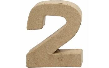 """Tūrinis kartoninis skaičius dekoravimui """"2"""", 10cm"""