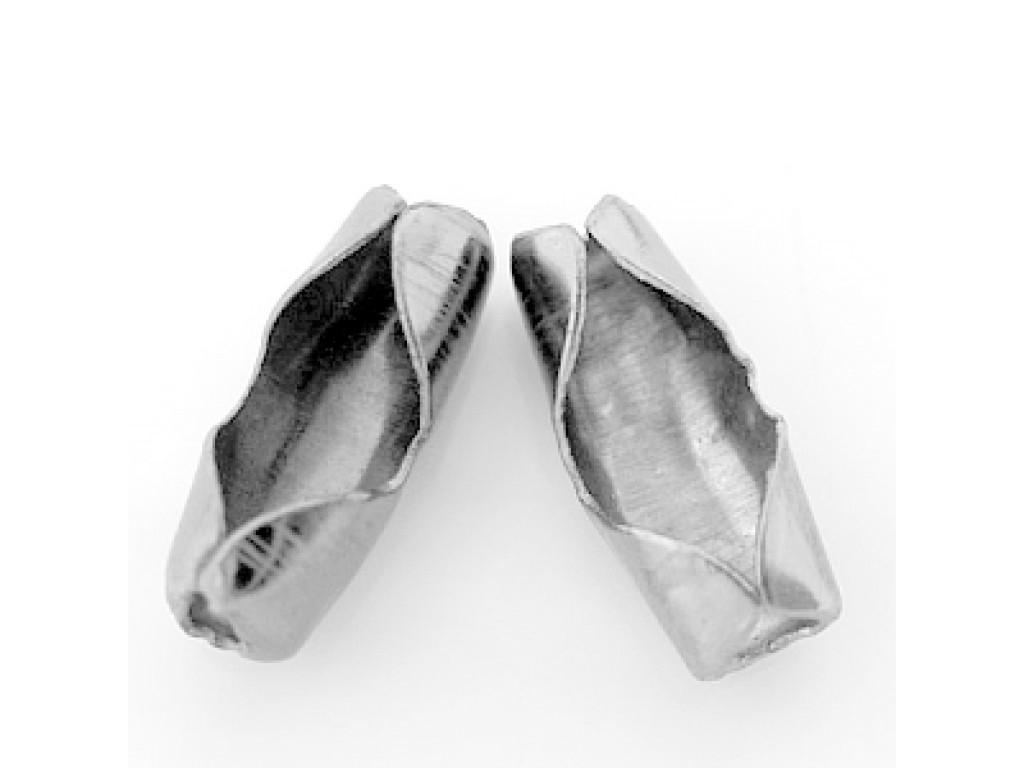 Burbuliukų grandinėlės jungtis 2-2,4mm sidabro spalva,  50vnt.