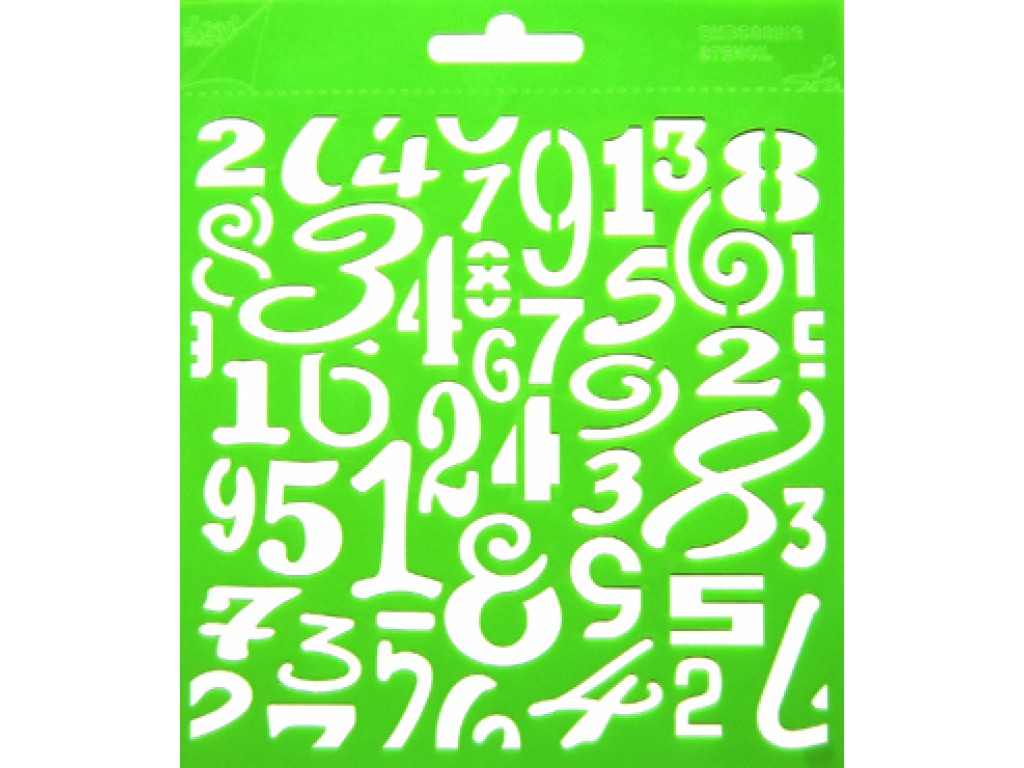 "Plastikinis trafaretas ""Embossing stencil square Numbers"""