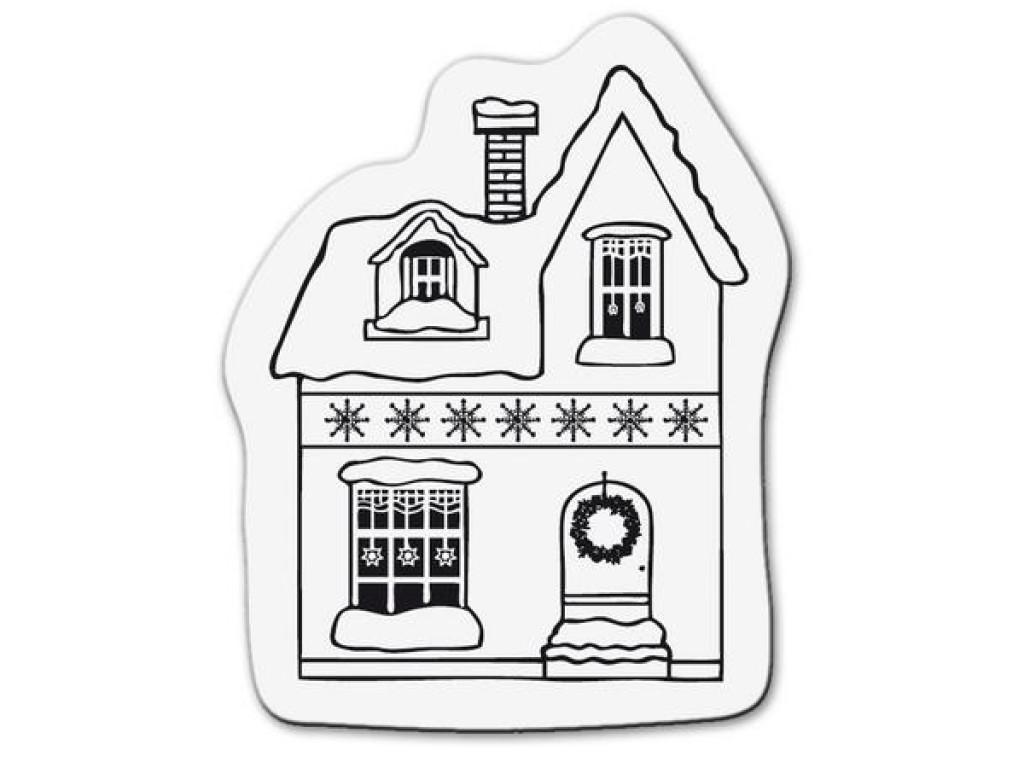 """Akriliniai antspaudukai """"Small Christmas House with Snow"""""""