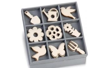 """Medinių formelių rinkinys """"Garden tools"""", 9vnt."""