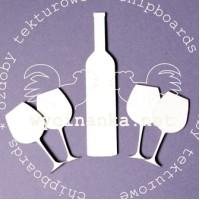 """Kartoninė formelė """"Vyno butelis ir taurės"""", 5vnt."""