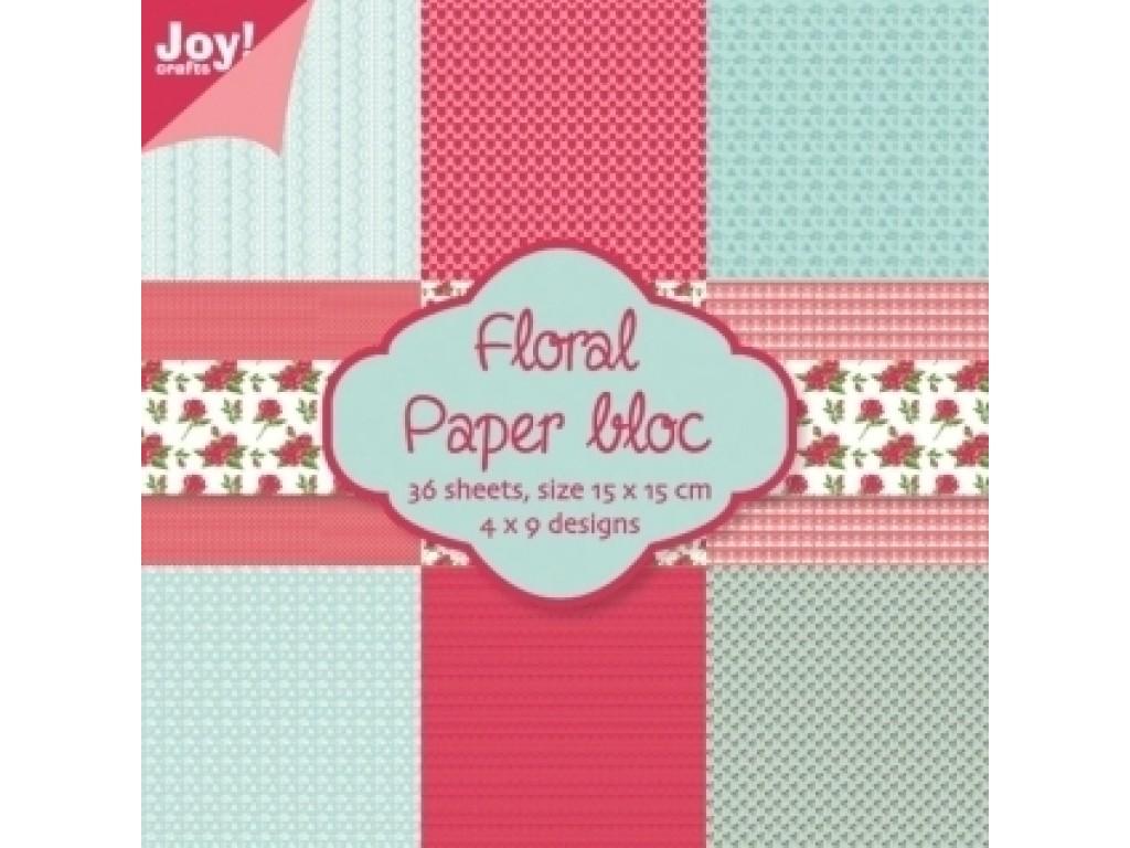 """Popieriaus rinkinys """"Floral 1"""" 15x15cm, 36 lapai"""