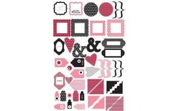 "Plastikinės dekoracijos ""Clear Red Pink Glitter Shapes"", 45vnt."