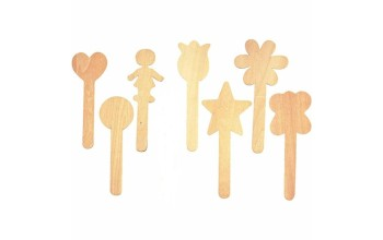 "Plokščios Medinės Lazdelės ""Shape lolly sticks - lollipop popsicle"", 7vnt."