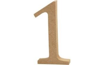"""Tūrinis medinis skaičius dekoravimui """"1"""", 13cm"""