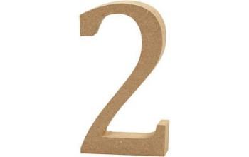 """Tūrinis medinis skaičius dekoravimui """"2"""", 13cm"""