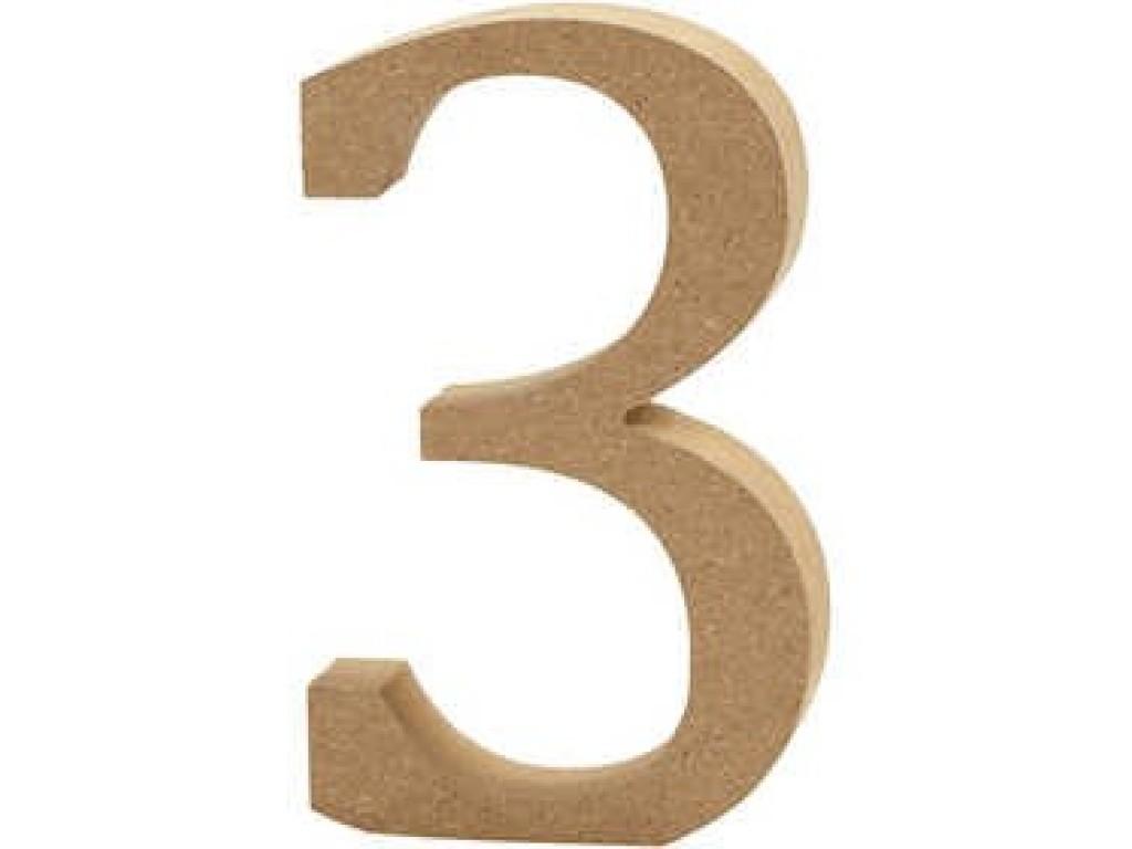 """Tūrinis medinis skaičius dekoravimui """"3"""", 13cm"""