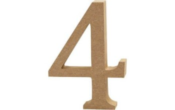 """Tūrinis medinis skaičius dekoravimui """"4"""", 13cm"""