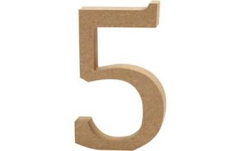 """Tūrinis medinis skaičius dekoravimui """"5"""", 13cm"""