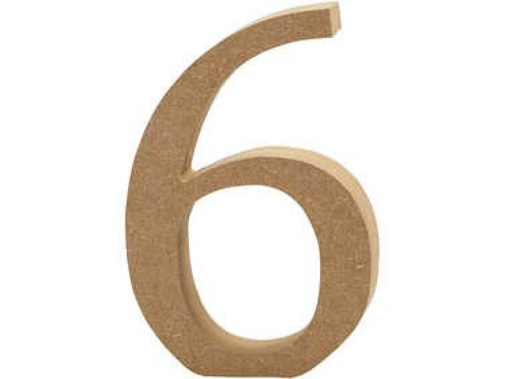 """Tūrinis medinis skaičius dekoravimui """"6"""", 13cm"""