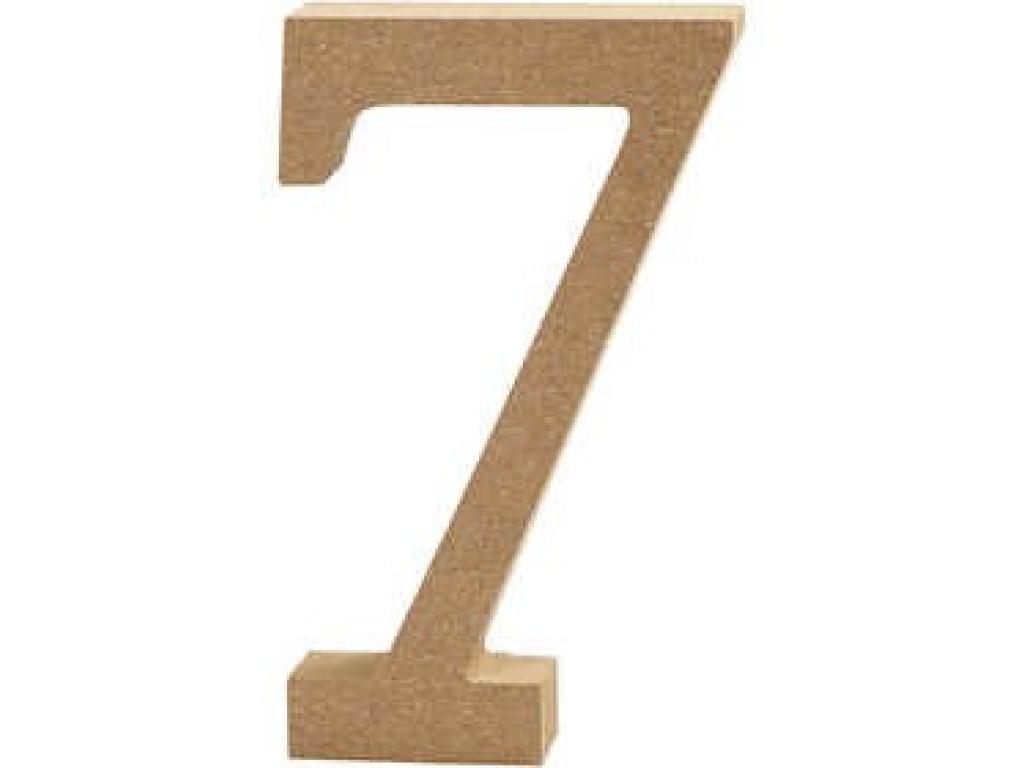 """Tūrinis medinis skaičius dekoravimui """"7"""", 13cm"""