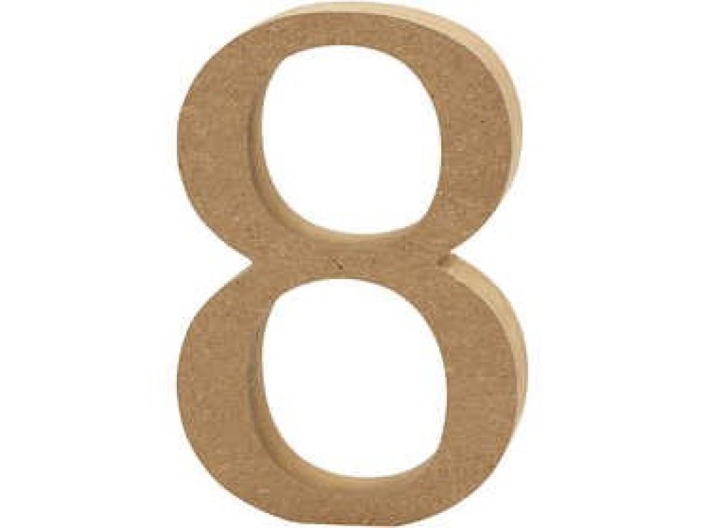 """Tūrinis medinis skaičius dekoravimui """"8"""", 13cm"""