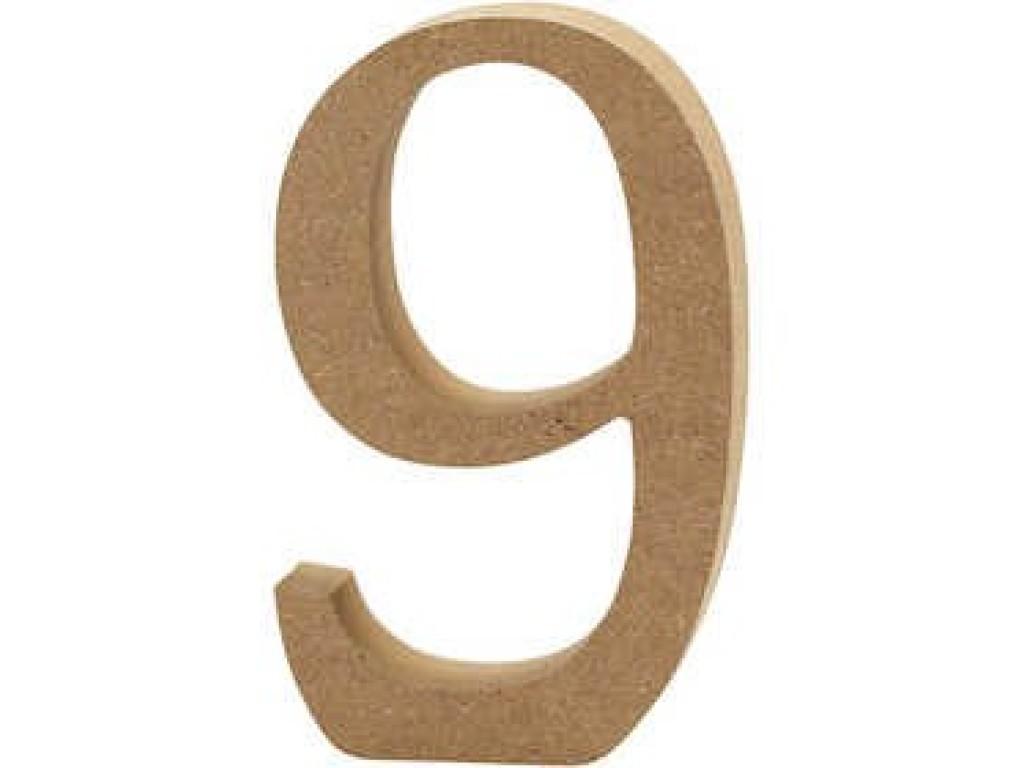 """Tūrinis medinis skaičius dekoravimui """"9"""", 13cm"""