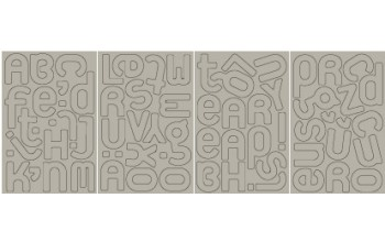 "Kartoniniai lipdukai ""BasicGrey: Chipboard Monograms Elbow"", 70vnt."