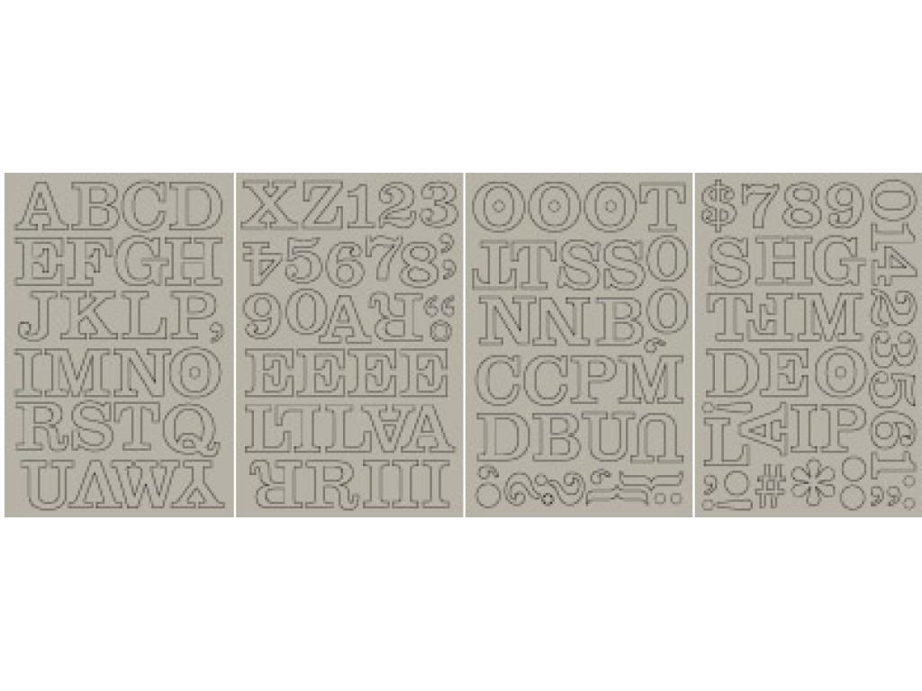 "Kartoniniai lipdukai ""BasicGrey: Chipboard Monograms Middleset"", 131vnt."