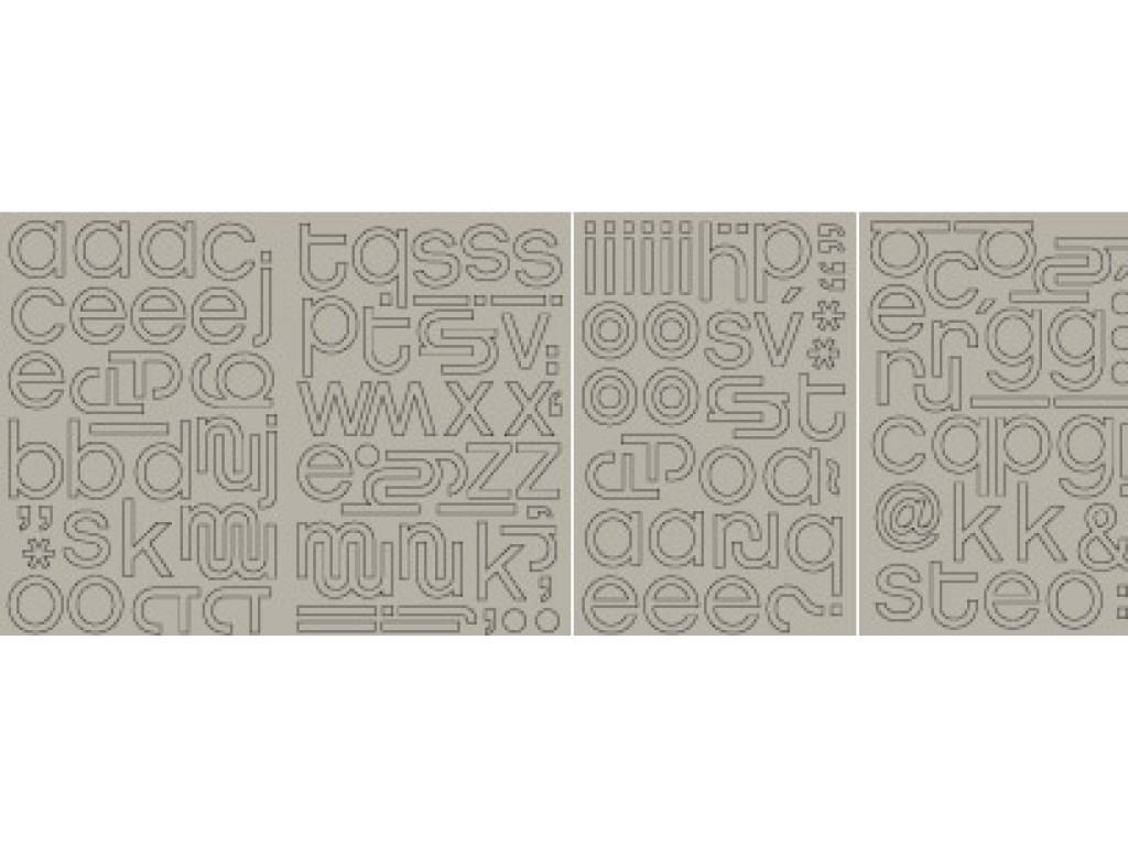 "Kartoniniai lipdukai ""BasicGrey: Chipboard Monograms Hip"", 150vnt."