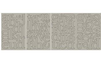 "Kartoniniai lipdukai ""BasicGrey: Chipboard Monograms Margie"", 67vnt."