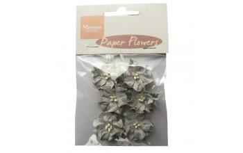 """Popierinės gėlės """"Grey Paper Flowers"""", 6vnt."""