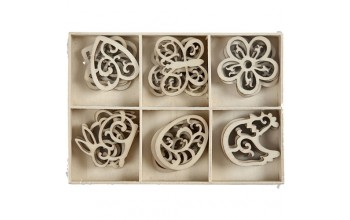 """Medinių formelių rinkinys """"Wood Spring Decorations"""", 24vnt."""