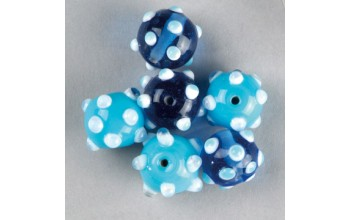 """Stikliniai taškuoti apvalūs karoliukai """"Turquoise Blue"""", 5vnt."""