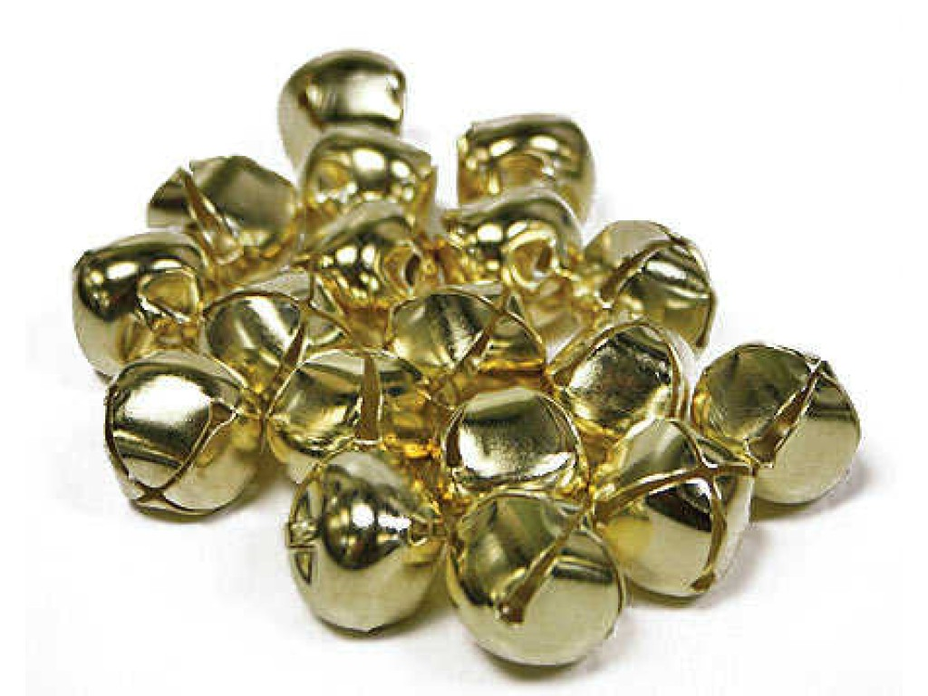 "Apvalus metalinis varpelis ""Jingle Bell Gold"", 10mm"