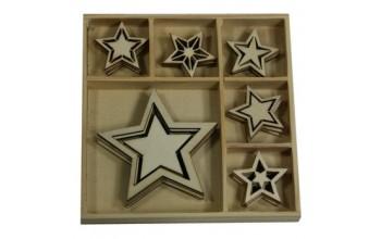 """Medinių formelių rinkinys """"Vintage Christmas Stars"""", 30vnt."""