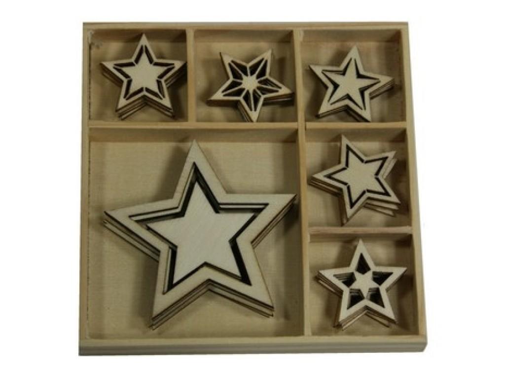 """Medinių formelių rinkinys """"Vintage Christmas Stars"""", 6vnt."""