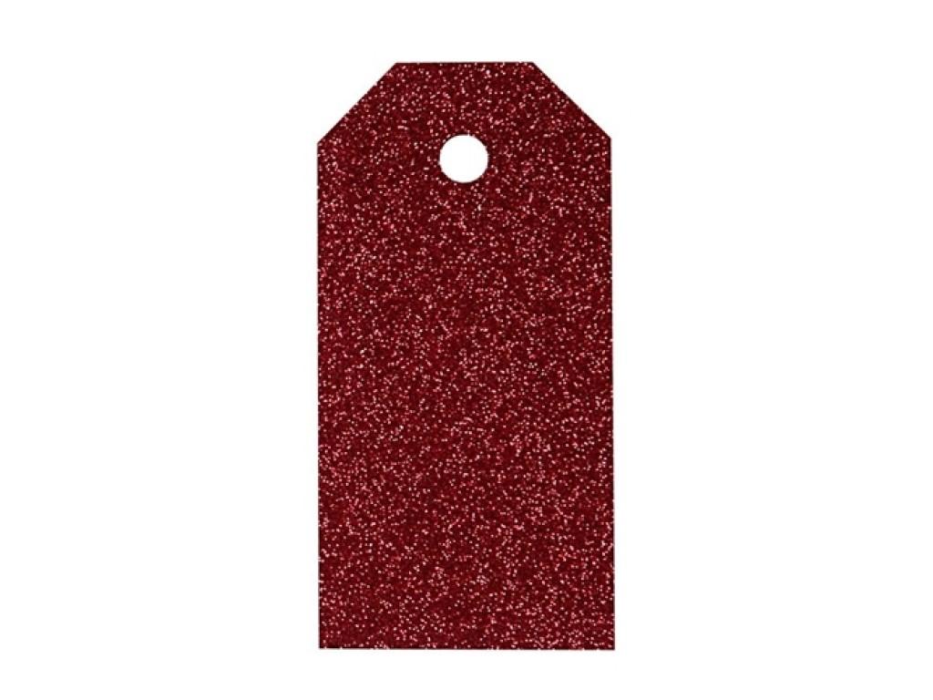 """Popierinės etiketės """"Glitter Red"""", 4vnt."""