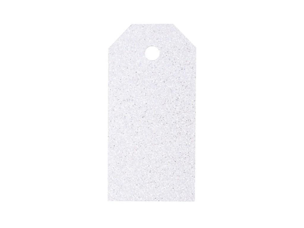 "Popierinės etiketės ""Glitter White"", 4vnt."