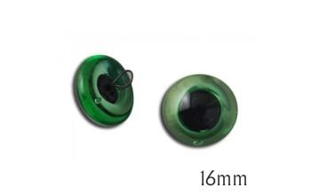 """Žalios stiklinės akys """"Swe-On"""" 16mm, 2vnt."""