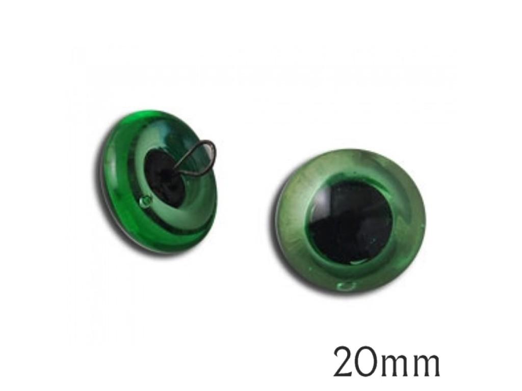 """Žalios stiklinės akys """"Swe-On"""" 20mm, 2vnt."""