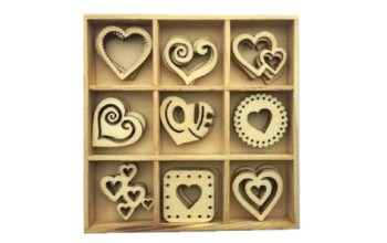 """Medinių formelių rinkinys """"Hearts"""", 9vnt."""