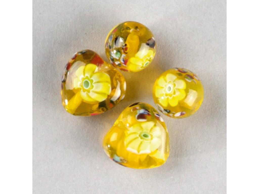 "Stikliniai karoliukai ""Millefore Yellow"""