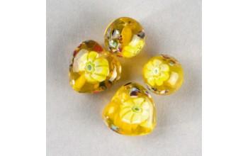 """Stikliniai karoliukai """"Millefore Yellow"""", 4vnt."""