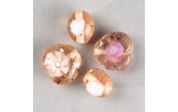 "Stikliniai karoliukai ""Millefore Pink"", 4vnt."