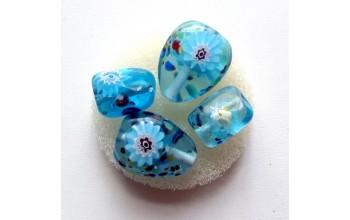 """Stikliniai karoliukai """"Millefore Turquoise"""", 4vnt."""