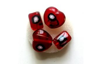 """Stikliniai karoliukai """"Millefore Red"""", 4vnt."""
