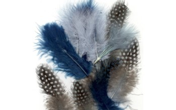 "Dažytos plunksnos ""Feathers Marabou and Guinea mix ocean"", 18vnt."