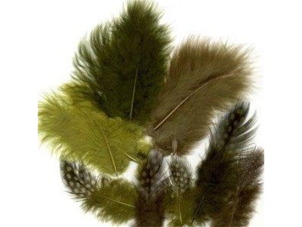 "Dažytos plunksnos ""Feathers Marabou and Guinea mix forest"", 18vnt."