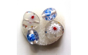 """Stikliniai karoliukai """"Millefore White Crystal"""", 4vnt."""