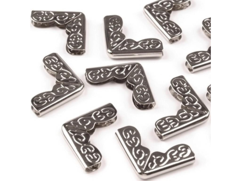 Metalinis kampukas ornamentuotas sidabrinis 1,6cm