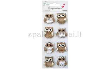"3D lipdukai dekoracijos ""Kraft Owls"""