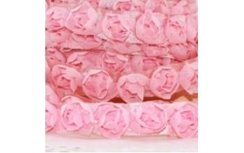 """Tiulio juosta su rožėm """"Tulle ribbon pink roses"""", 1m"""