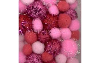 "Dekoratyviniai bumbuliukai ""Mix PomPom Set Pink Glitter"", 50vnt."