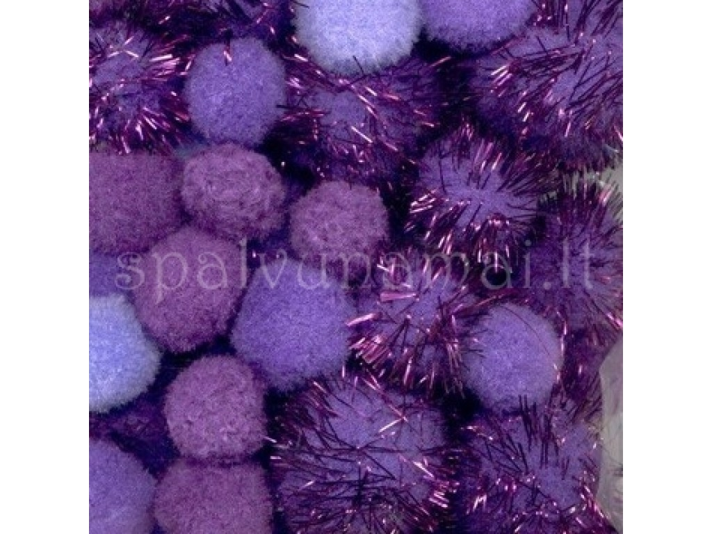 "Dekoratyviniai bumbuliukai ""Mix PomPom Set Purple Glitter"", 50vnt."