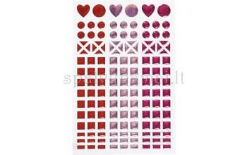 "Blizgaus plastiko lipdukai ""Mosaic Red"", 138vnt."